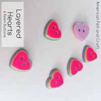 Layered Heart Buttons- 6