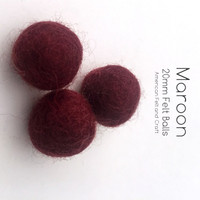 Maroon  - Wool Felt Balls 2 cm