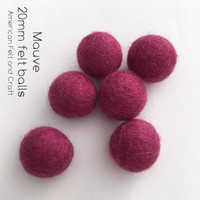 Mauve - Wool Felt Balls 2 cm