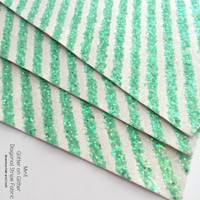 Glitter on Glitter Diagonal Stripe Fabric - Mint