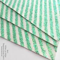 Glitter on Glitter Diagonal Stripe Fabric - Mint