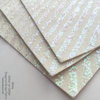 Glitter on Glitter Diagonal Stripe Fabric - White