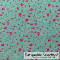 Turquoise Rosebud- felt print -NEW