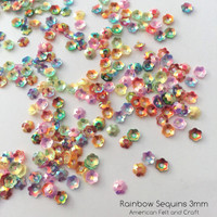 Rainbow Mix Flower  - 3-4 mm Cupped Sequins