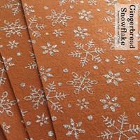 Gingerbread Snowflake glitter print felt
