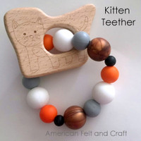Kitten Wood Teething Pendant