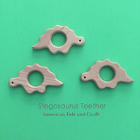Stegosaurus Dinosaur  Wood Teething Pendant