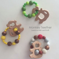 Monkey Natural Wood Teething Pendant