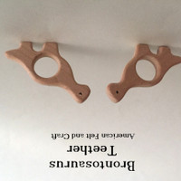 Brontosaurus  Wood Teething Pendant