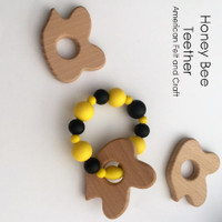 Honeybee  birchwood teether