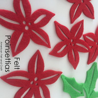 Poinsettia- felt Christmas cutouts