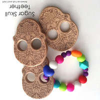 Sugar Skull -  beechwood teether