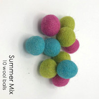 Summer Mix - 10 piece wool felt balls
