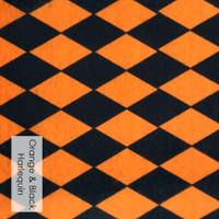 "Orange and Black Harlequin  - Halloween acrylic felt "" 8"" x 11.5""  x 1mm"