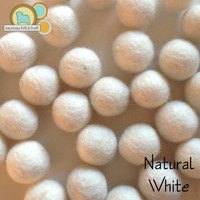 Natural White  Wool Felt balls 2cm 20mm