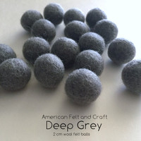 Deep Grey - Wool Felt Balls
