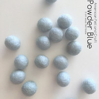 Powder Blue 2cm wool felt ball