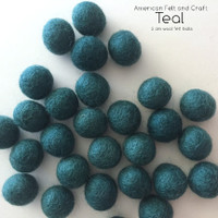 Teal wool felt balls- 2cm