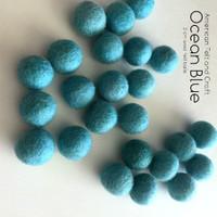 Ocean Blue - Wool Felt Balls 2cm