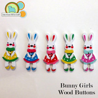 Bunny Girls Wood Buttons