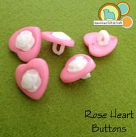 Rose Heart Buttons