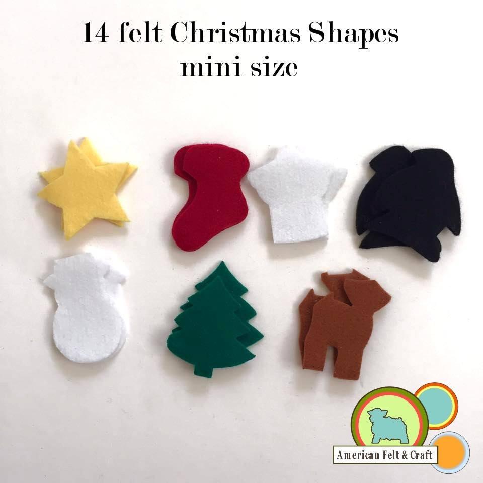 Christmas Shapes.Mini Felt Shapes Christmas