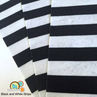 Black and White Stripe - Print Felt