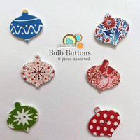 Bulb Buttons- 6 assorted wood painted