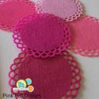 Pink Felt Doilies- 5