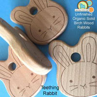 Wooden Rabbit Head Teether