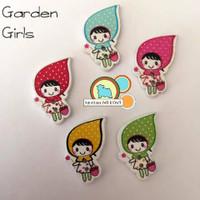 5 Garden Girl Buttons