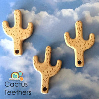 Wood Cactus Teether Pendant