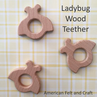 Ladybug  birchwood teether