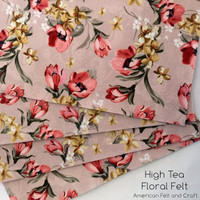High Tea vintage floral  print felt -NEW-