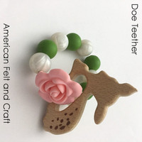 Doe Deer Wood Teething Pendant