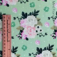 Mint Floral print- printed felt