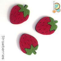 Strawberries fruit felt shapes