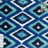 Blue Ikat Printed Felt