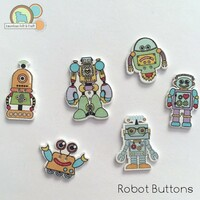 Robot Buttons- Wood