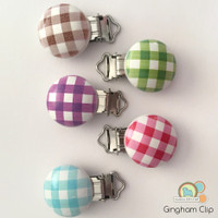 Gingham- Pacifier, Suspender, Teether clip