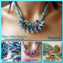 Peacock - Dagger Blues - Purple Salmon - Chinese Jade