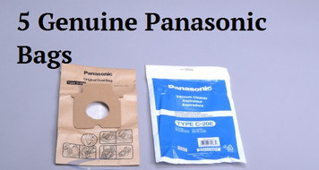 Includes one new unopened package of five (5) genuine OEM Panasonic Type C-20E Bags