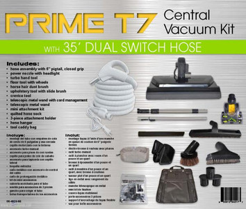35' premium central vacuum hose KIT w/ 6' pigtail, power nozzle, accessories kit
