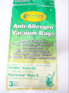 Eureka Style OX Anti-Allergen Vacuum Bags-3 Pack-99.9% Filtration