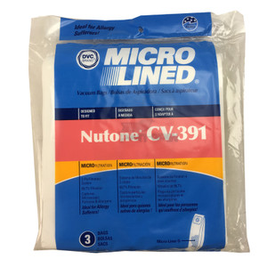 Nutone, Beam, Electrolux CV-391 Central Vacuum Bags. Pkg of 3