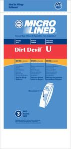 3 Pack - Royal Dirt Devil Type U Vacuum Bags Swivel Glide Ultra and Magnum