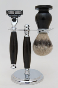 Brush, Razor & Stand Gaboon Ebony