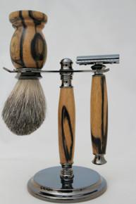 Brush & Razor & Stand Black & White Ebony