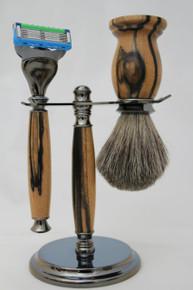 Brush & Razor & Stand Black & White Ebony gm