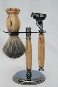 Brush & Razor & Stand Stabilized Spalted Tamarind